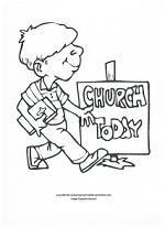 boy at church coloring page