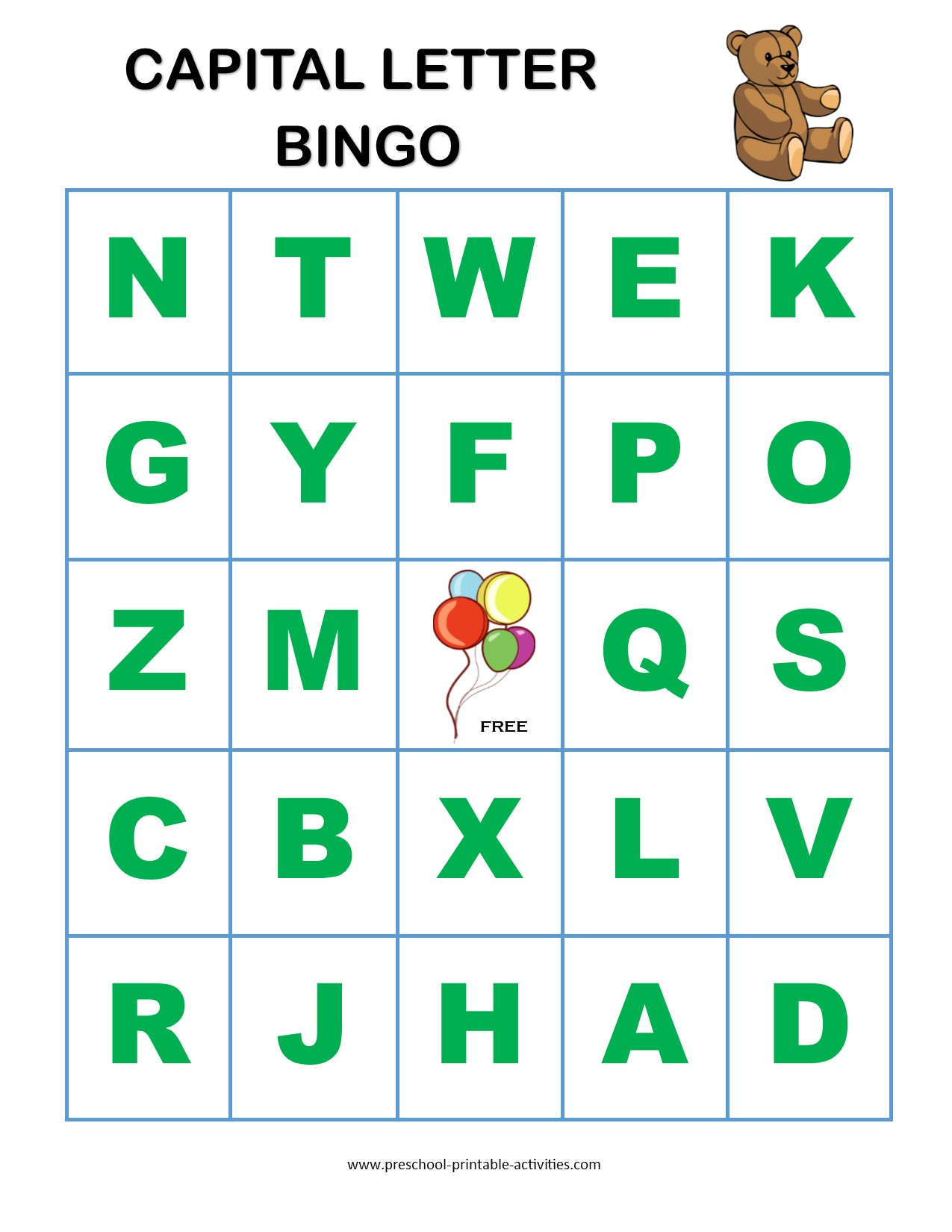 Capital letter bingo game board for preschoolers