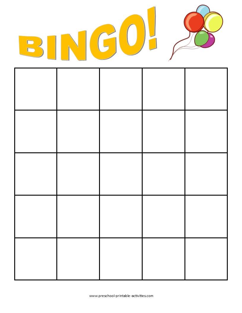 printable blank bingo game board