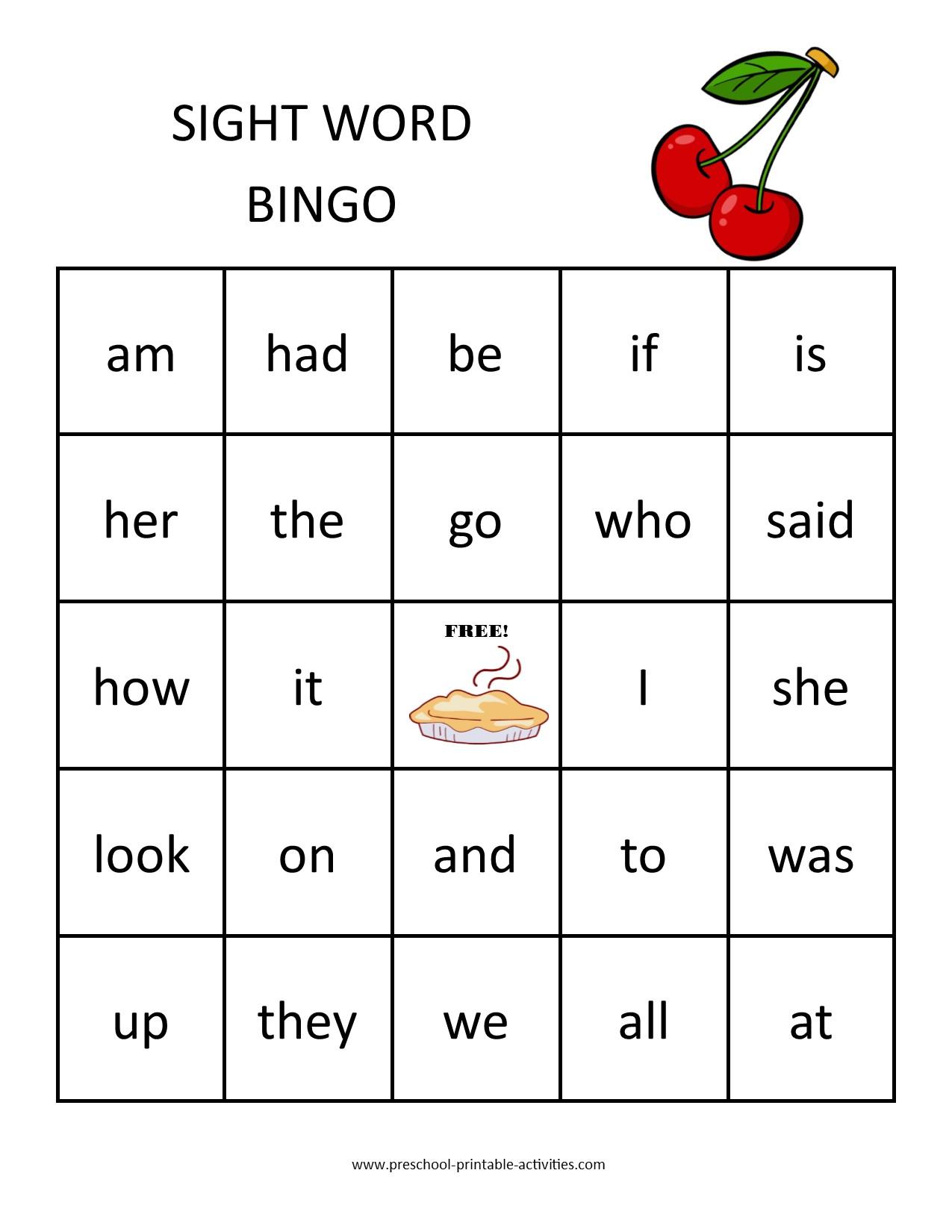 printable sight word bingo game board