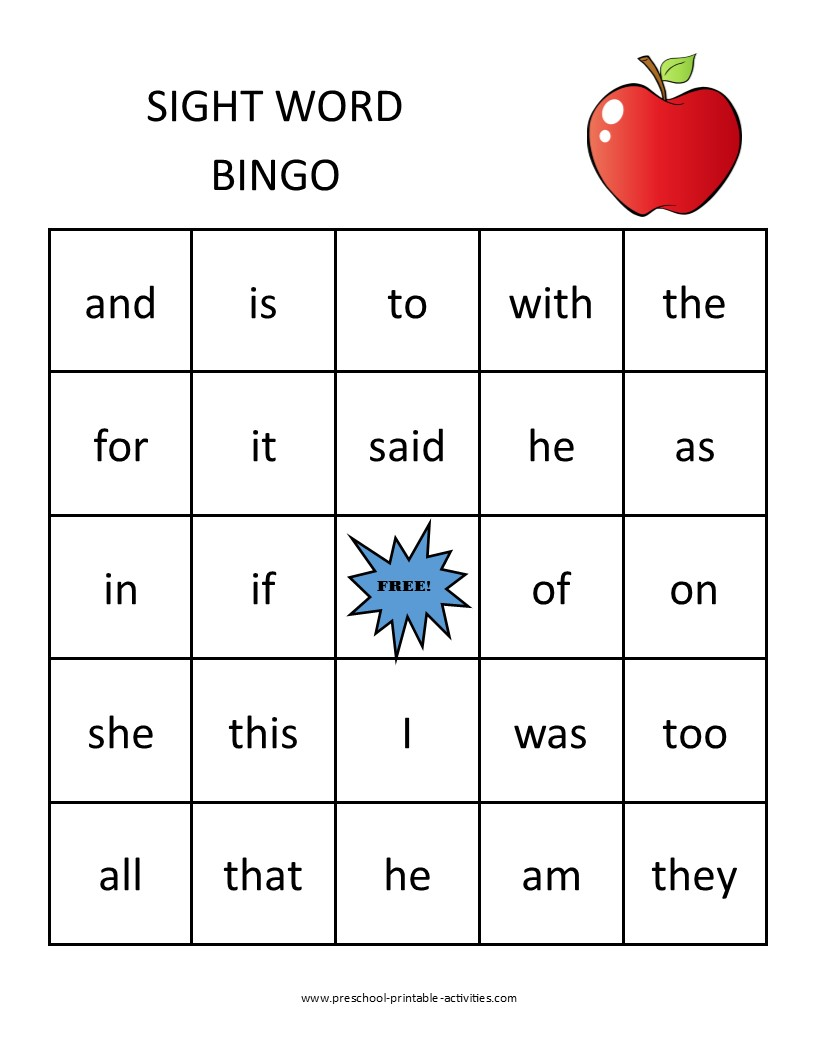 printable sight word bingo game board