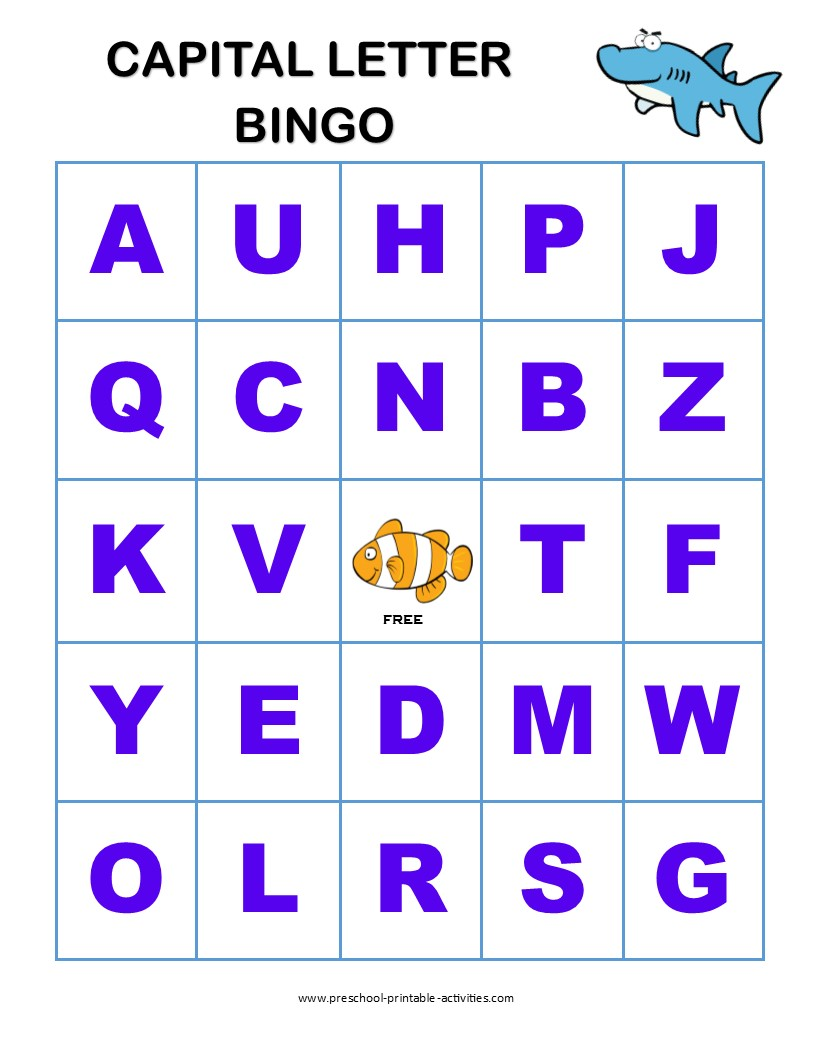 Capital Letter Bingo Board for Preschoolers