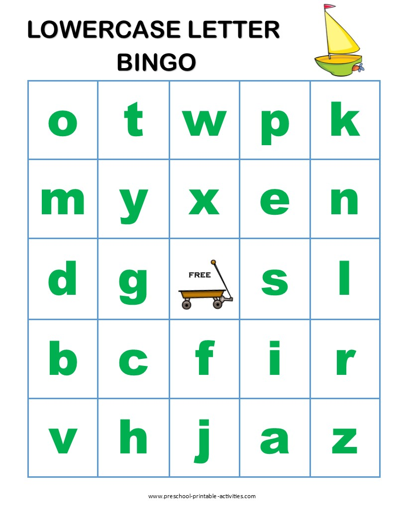 lowercase letter bingo game board