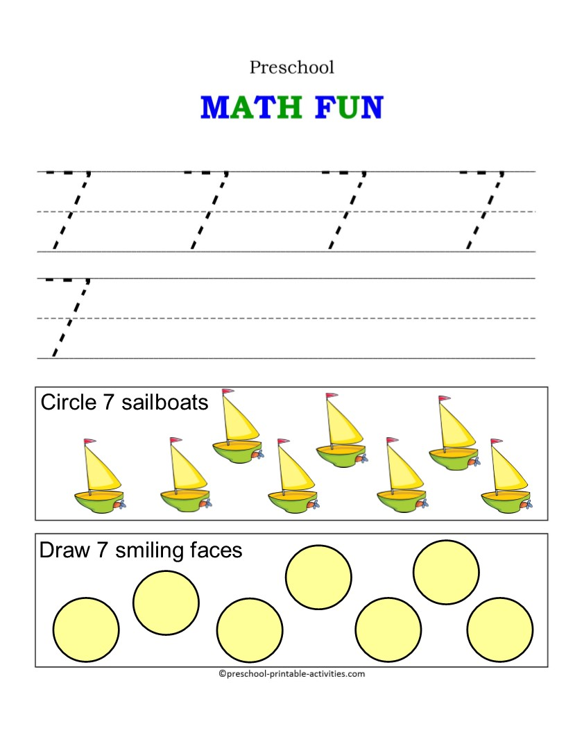 worksheet Preschool Numbers Worksheets worksheets tracing number 7