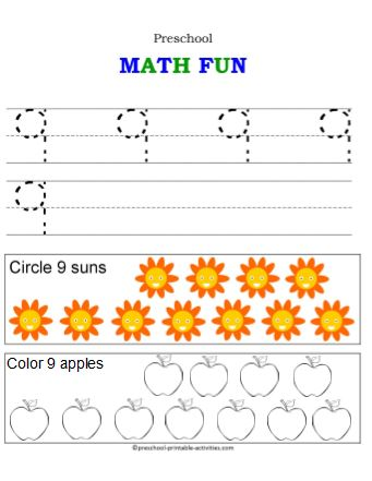 All Worksheets » Number 9 Worksheets Preschool - Printable ...