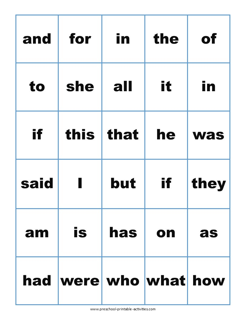printable sight word bingo calling cards