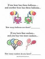 preschool math story problems
