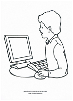 boy at computer coloring page