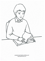 boy at school coloring page