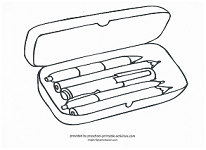 pencil case coloring page