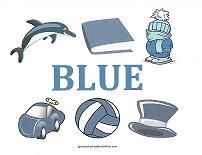 color blue teaching card