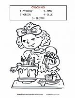 girl with birthday cake color by number