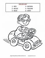 boy in car color by number - Colouring Activities For Kids