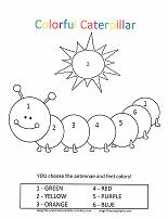 caterpillar coloring by number page