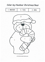 christmas bear color by number