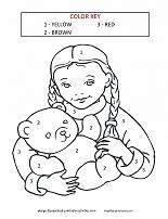 girl with teddy bear coloring by number page