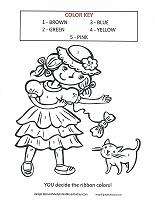 girl with cat color by number