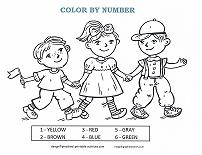 children at parade color by number