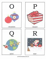 letters O, P, Q, R flashcards with christmas theme