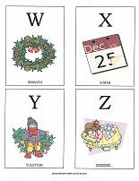W, X, Y, Z  flashcards with christmas theme