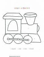 train coloring by number page