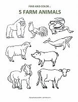 count and color farm animals