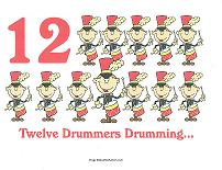 12 drummers drumming wall card