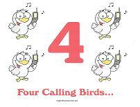four calling birds wall card