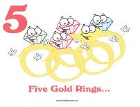 5 golden rings wall card