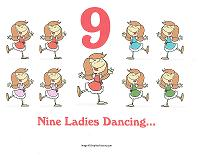9 ladies dancing wall card