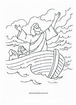 Jesus calms the sea coloring page