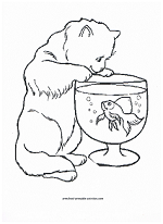 cat and fishbowl coloring page