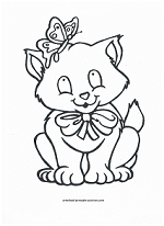 kitten with butterfly coloring page