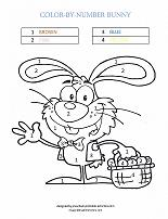 easter bunny coloring by number page