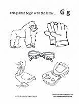 Letter G coloring pages, alphabet coloring pages (G letter words ... | 202x155