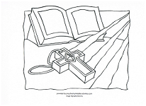 Bible and cross coloring page