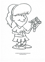 girl with cross coloring page