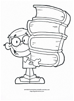 boy with school books coloring page