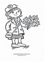 girl with leaves coloring page