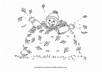 kid in leaf pile coloring page