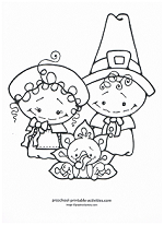 pilgrims with turkey coloring page