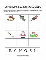 beginning sounds worksheet with christmas theme