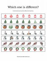 which one is different worksheet with christmas theme