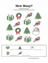 counting christmas items worksheet