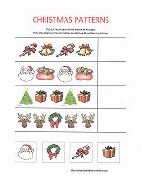 follow the pattern worksheet with christmas theme