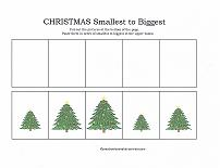 smallest to biggest cut and paste activity with christmas theme