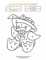 baby duck coloring by number page