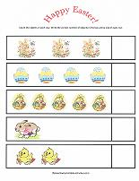 preschool counting worksheet with easter theme