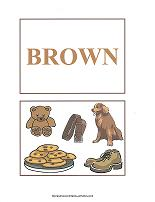 brown color flash cards