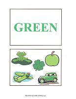 green color flash cards